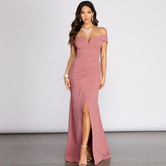 Everylynn Formal Wrap Mermaid Dress Rose